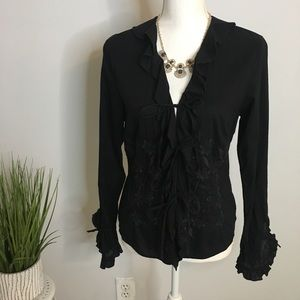 Lucky Brand Boho Sexy Tie Front Top Size L